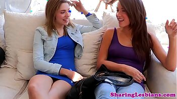Teen lesbian pals eating out together